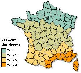 4 zone climatique en france